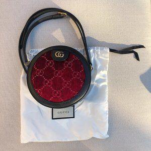 Rare!NEW! Gucci GG Velvet Round Shoulder Bag Red